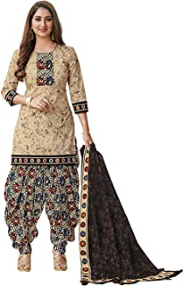 VintFlea Womens's Cotton Unstitched Salwar Suit, Indian Punjabi Style Fashion, Patiyala or Bollywood Design Look, Salwar Kameez, Daily or Party Wear, Multicolor, Free Size (Free Express Shipping)
