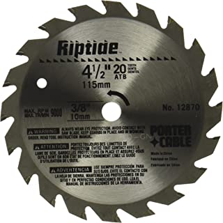 PORTER-CABLE 12870 Riptide 4-1/2-Inch 20 Tooth ATB Thin Kerf General Purpose Saw Blade with 3/8-Inch Arbor