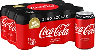Coca-Cola - Zero, Refresco con gas de cola, 330 ml (Pack de 12), Lata