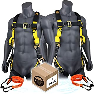 KwikSafety (Charlotte, NC) SUPERCELL (2 PACK) ANSI OSHA Full Body Personal Fall Protection Safety Harness Dorsal Ring Side D-Rings Grommet Tongue Buckle Straps Tool Lanyard Construction Tower Roofing