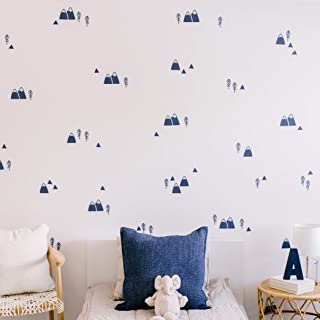 """Modern Maxwell Wall Art Decals for Boys Nursery, Bedroom, Living Room """"Wasatch"""" Navy Mountain and Trees Room Sticker 104 Pieces"""