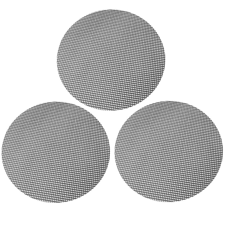 自体ノイズタブレットグリルマット ゴシレ Gosear 3PCS 焼き網 再利用可能なラウンドノンスティックバーベキューバーベキューグリルマットパッドシートベーキングパンフライライナー用炭グリル電気オーブン電子レンジ 40CM 黒