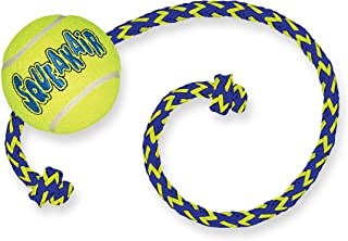 KONG - Squeakair Ball with Rope - Dog Toy Premium Squeak Tennis Balls, Gentle on Teeth - For Medium Dogs