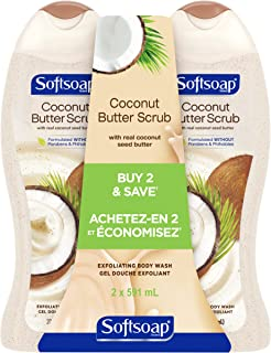 Softsoap Exfoliating Body Wash Scrub, Coconut Butter, 591 mL (2 Pack)