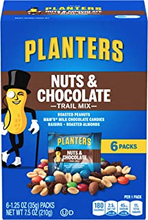 PLANTERS Nuts and Chocolate Trail Mix, 1.25 oz. Bags (6 Pack) - Trail Mix with M&M's Chocolate and Roasted Peanuts - Sweet...