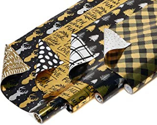 American Greetings Reversible Christmas Foil Wrapping Paper, Black and Gold, Plaid, Trees and Reindeer (4 Pack, 30