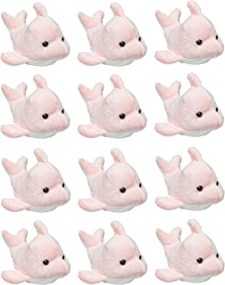 Wildlife Tree 12 Pack Pink Dolphin Mini 4 Inch Small Stuffed Animals, Bulk Bundle Ocean Animal Toys, Sea Party Favors for Kids