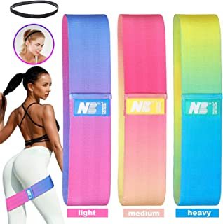 Pvendor Resistance Bands for Women Butt and Legs, Fabric Exercise Workout Bands Booty Bands, 3 Levels Non-Slip and Fitness Bands with Sports Headband for Squat Glute Hip Training(Upgraded)