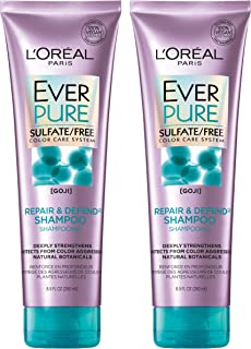 L'Oréal Paris Hair Care EverPure Sulfate Free Repair & Defend Shampoo for Color-Treated Hair, Strengthening for Fragile Hair with Goji, 2 Count (8.5 Fl. Oz each)