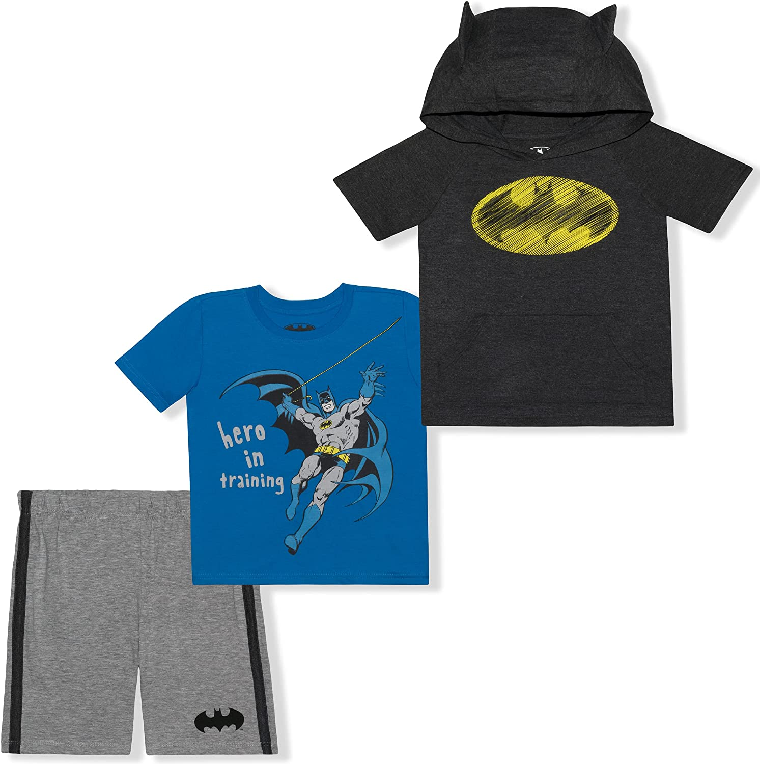 BATMAN 3 Pack Shorts Set with Graphic Tees for Boys, Superhero Hooded Shirt and Shorts