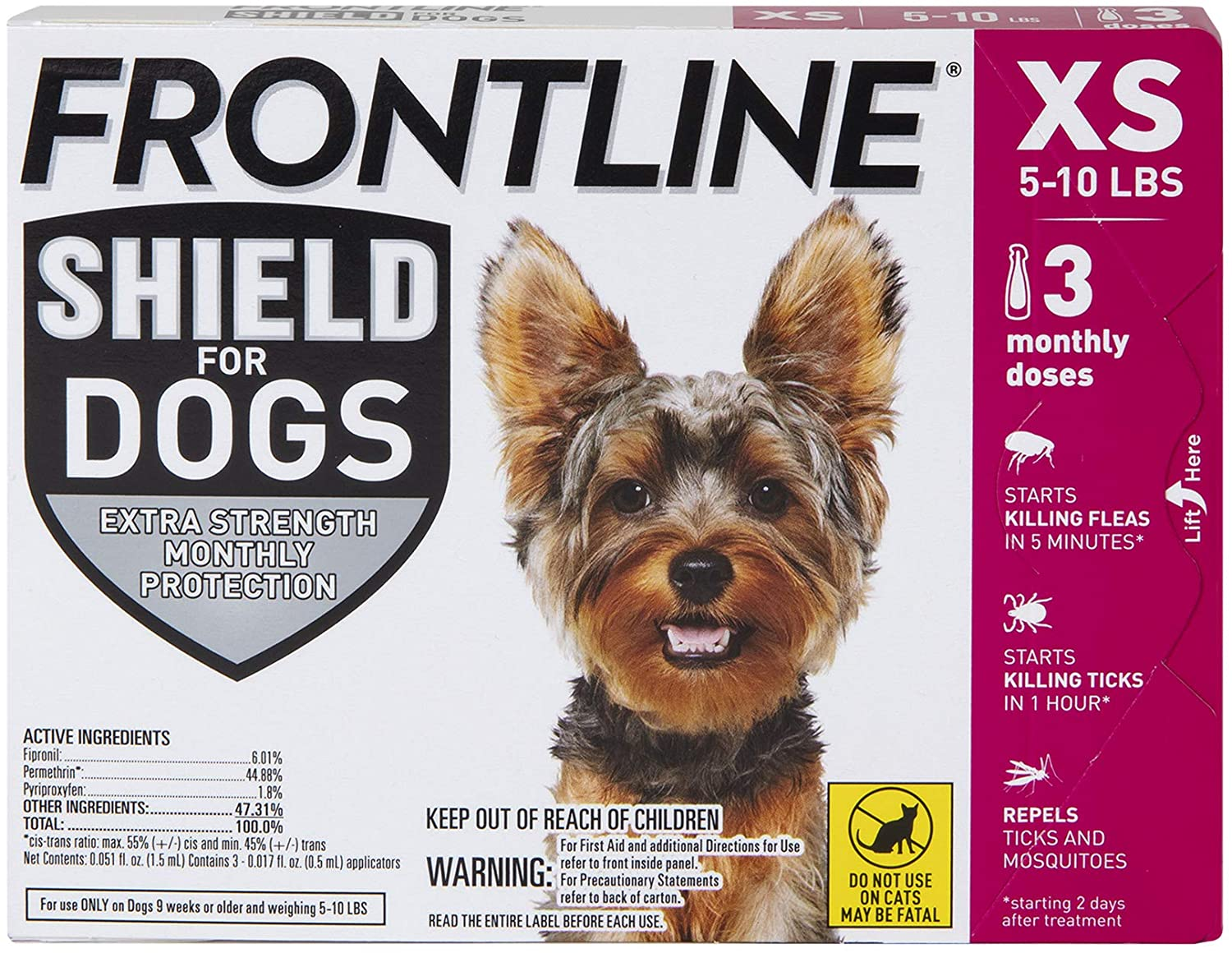 FRONTLINE Shield for Dogs Flea 5-10 Tick Japan's largest assortment Treatment 3ct New item lbs