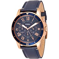 Men's Grant Sport Stainless Steel and Leather Chronograph Quartz Watch