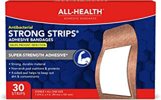 All Health Strong Strips Antibacterial Heavy-Duty Adhesive Bandages, 1-3/4 inch, 30 Count