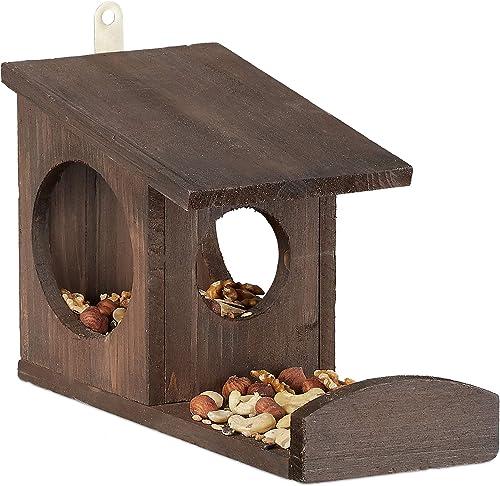 Relaxdays 10026317_746 Mangeoire pour écureuils, Distributeur de Nourriture, à accrocher, Bois, HLP: 17,5 x 14 x 25cm...
