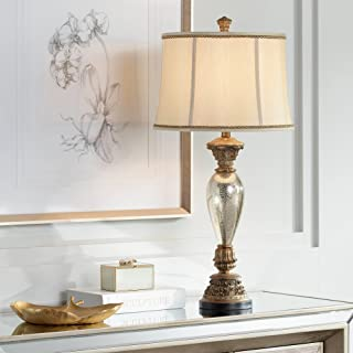 Alsace Traditional Table Lamp Mercury Glass Golden Bronze Base Bell Shade for Living Room Family Bedroom Bedside Office - Barnes and Ivy