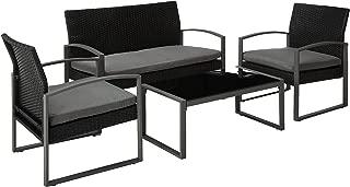 COSTWAY 4 pcs Outdoor Patio Furniture Rattan Wicker Conversation Set, Black