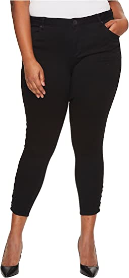 Plus Size Connie Ankle Skinny Snaps Side Legs in Black