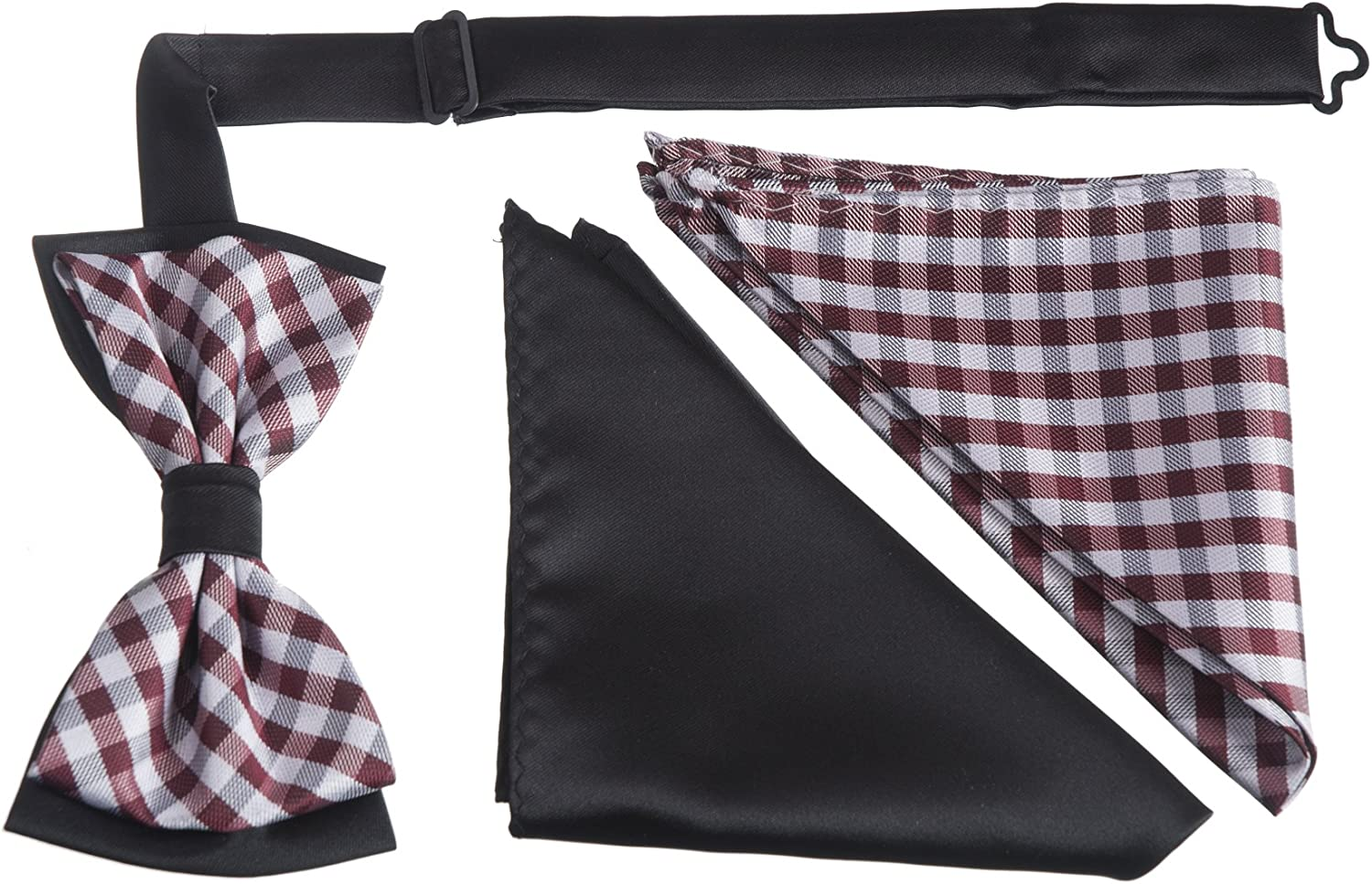 Brand Q Mens Plaid Two Toned Bow Tie with Two Matching Pocket Hankies Boxed Sets