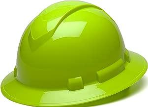 Pyramex Ridgeline Full Brim Hard Hat, 4-Point Ratchet Suspension, Hi-Vis Lime