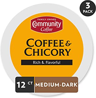 Community Coffee and Chicory Medium Dark Roast Single Serve 36 Ct Box, Compatible with..