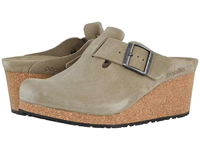 70s Shoes, Platforms, Boots, Heels Birkenstock Fanny by Papillio Taupe Suede Womens Clog Shoes $159.95 AT vintagedancer.com