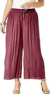 Roamans Women's Plus Size Crinkle Wide-Leg Crop Pant