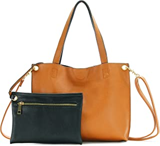 SScarleton Small Stylish Reversible Tote Handbag for Women, Vegan Leather Shoulder Bag, Hobo bag, Satchel Purse, H2019