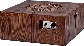dobar Quadratischer Outdoor Lava-Ofen mit Lavasteinen, Propangas-Flamme, Magnesium-Feuerstelle Feuerschale, Braun, 70 x 70 x 30 cm