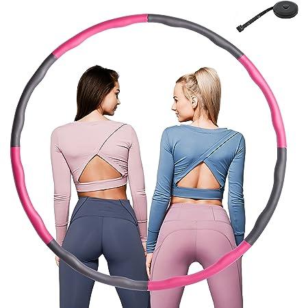 FIT4u Hula Hoop Reifen 1,1kg für Erwachsene Mit Bandmaß zum Abnehmen, Pink Grau, Durchmesser 95cm, 8 Elemente verstellbar, Schaumstoff