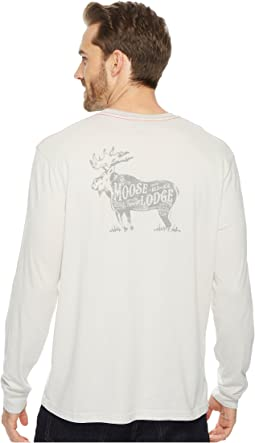 True Grit - Vintage Screen Print Combed Cotton Long Sleeve Tee Moose Lodge
