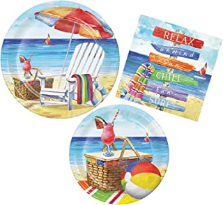 Summer Breezy Beach Party Bundle with Paper Plates and Napkins for 8 Guests