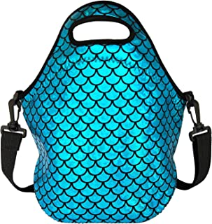Insulated Lunch Bag, Neoprene Shoulder Lunch Tote Boxes Bags for Women Men Kids Work Office Outdoor Picnic Travel, Mermaid Scale (Blue)