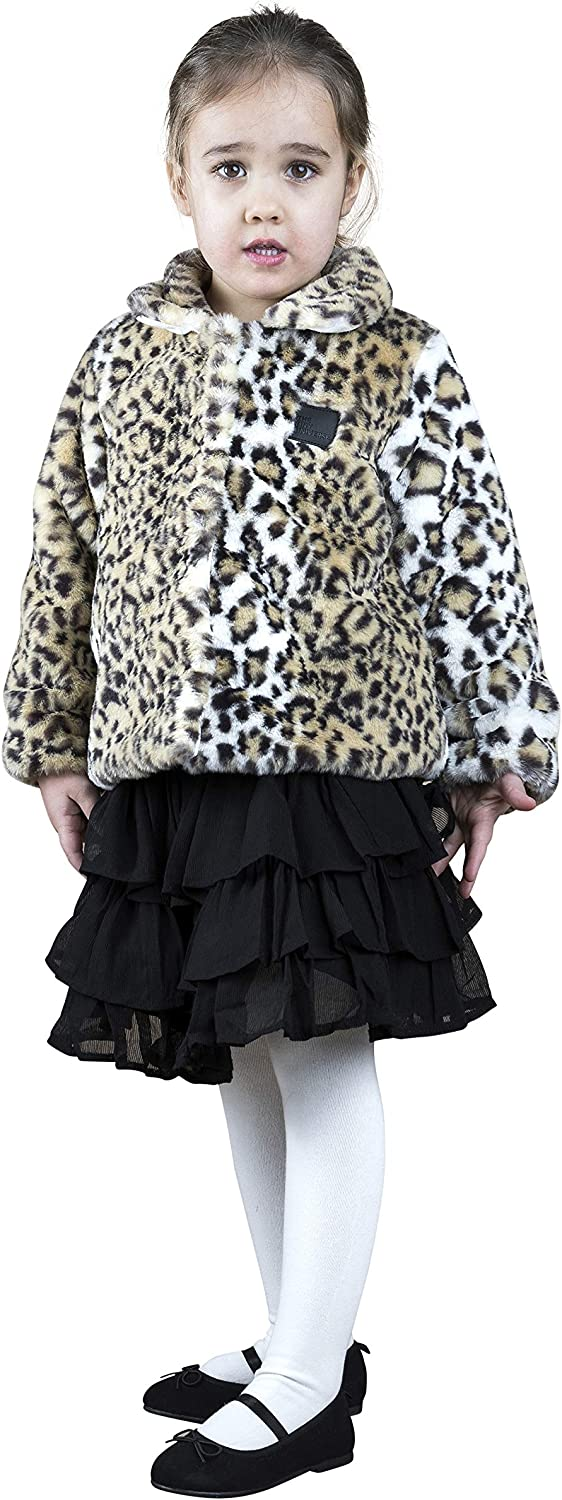 The Tiny Universe Kids Faux Fur Coat for Baby Girls and Boys, Toddlers Fall Winter Jacket, Leopard Print