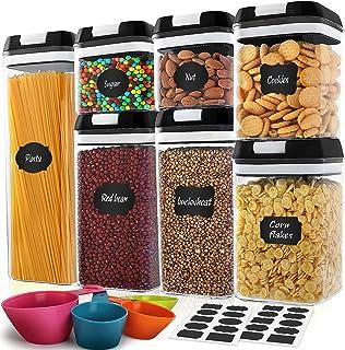 MCIRCO Lot de 7 boîtes hermétiques en plastique sans BPA avec couvercles améliorés pour cuisine et garde-manger et boîtes ...