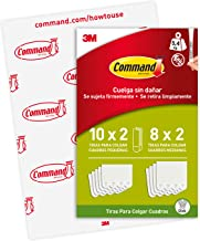 Command PH203-18NA Tiras para colgar cuadros blancas pequeñas y medianas, 8 Medium and 10 Small