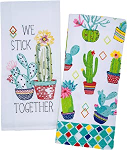 Cactus Garden Kitchen Towels, Set of 2 Cactus Plants in Bloom Dish Towels for Drying Hands Dishes Kitchenware, Cactus Towels, Cactus Kitchen Decor Accessories