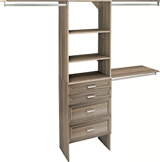 ClosetMaid SuiteSymphony Closet Organizer with Shelves and 4 Drawers, 25-Inch-Natural Gray