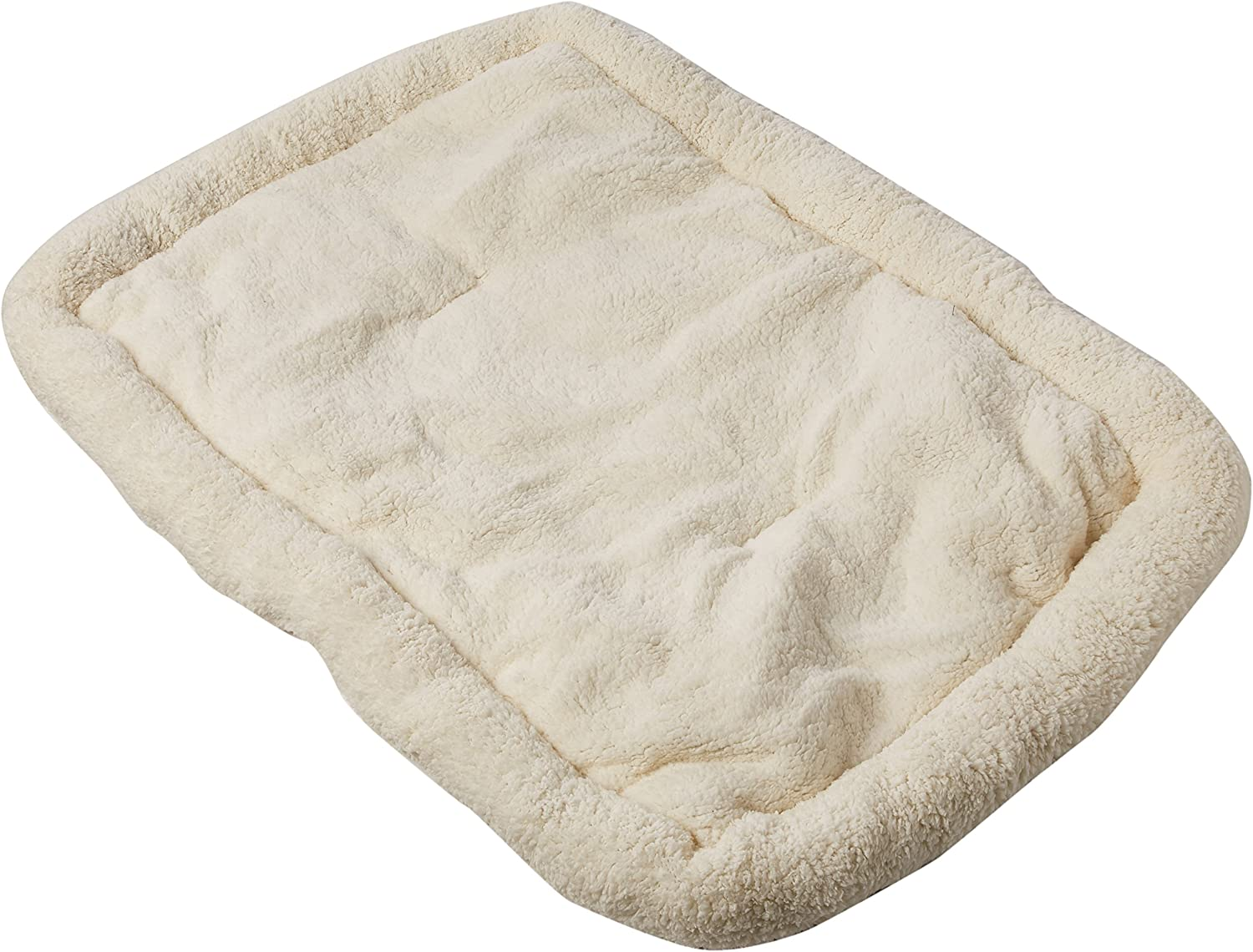 Long Rich HCT ERE001 Super Soft Sherpa Crate Cushion Dog and Pet Bed, White, by Happycare Textiles