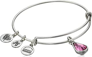 Birth Month Charm with Swarovski Crystal Bangle Bracelet