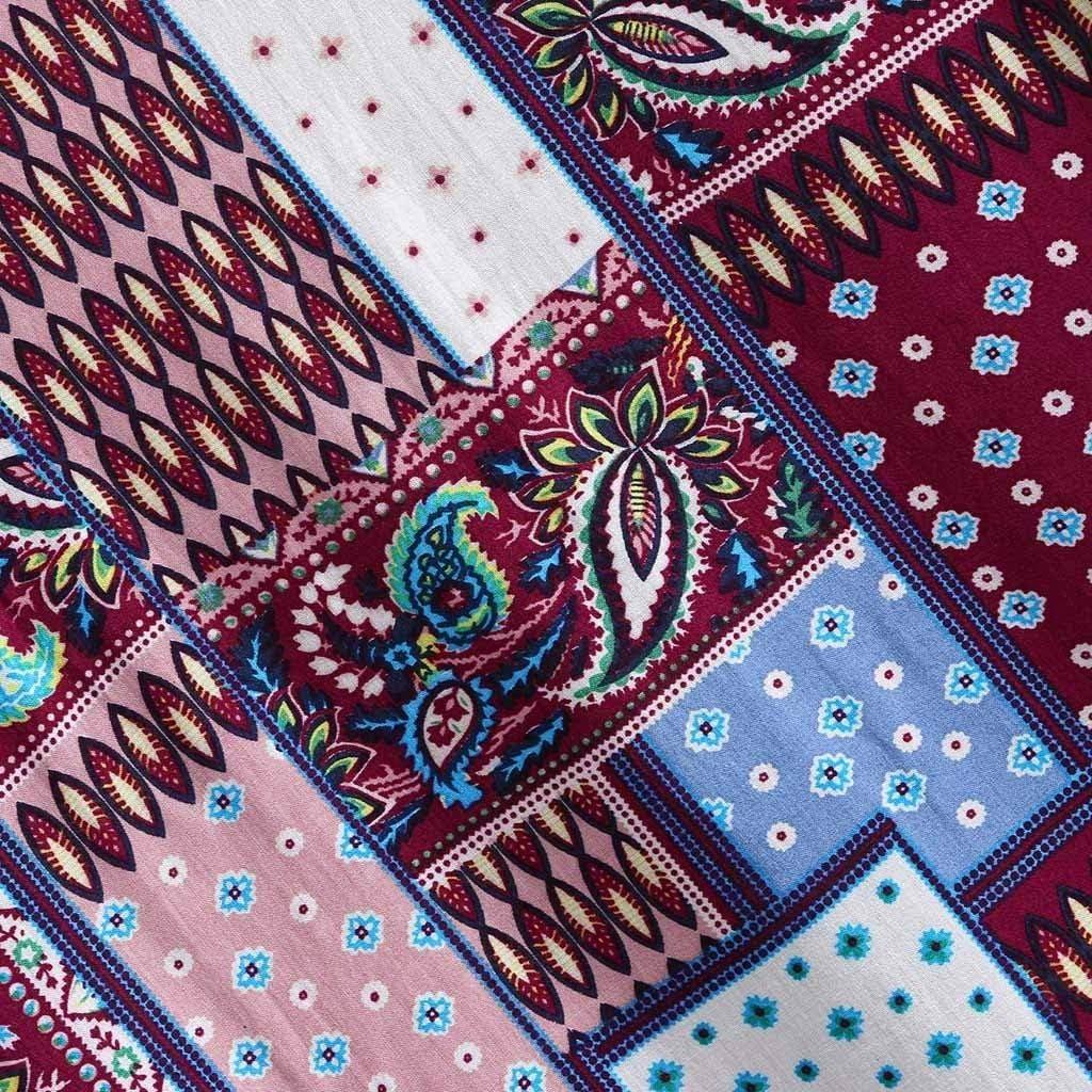 Mens Ethnic Printed Shirt, Beautyfine Stand Collar Colorful Long Sleeve Loose Henley Shirt