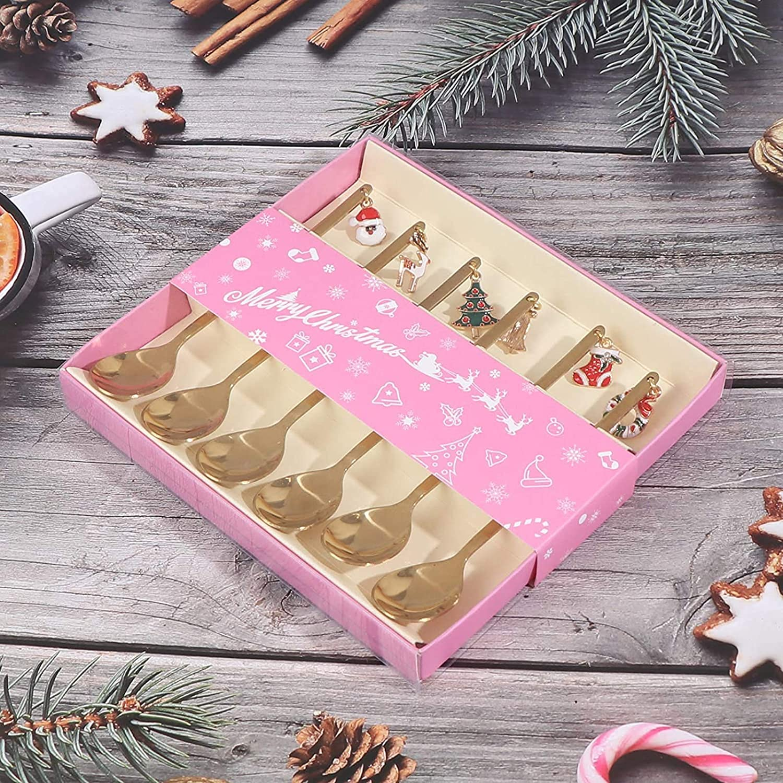 cuchara de t/é y postre dorado AXspeed Juego de 6 cucharas de cocina de acero inoxidable con colgante de Navidad con caja de regalo cuchara para agitar caf/é