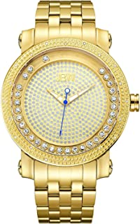 "JBW Men's J6338B""Hendrix"" Floating Crystals and Multi-Function Diamond Pave Watch 50mm Diameter"