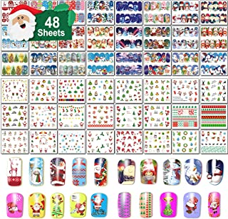 48 Sheets Christmas Nail Art Stickers - Water Transfer DIY Nail Decals Stencil for Women Girls Kids Manicure Nail Salon