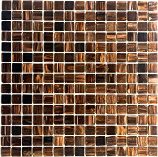 3/4 x 3/4 Copper Gold Glimmer Glass Mosaic
