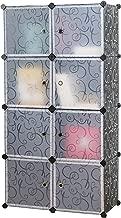 UNICOO - Multi Use DIY Plastic 8 Cube Organizer, Toy Organizer, Bookcase, Storage Cabinet, Wardrobe Closet (Black)