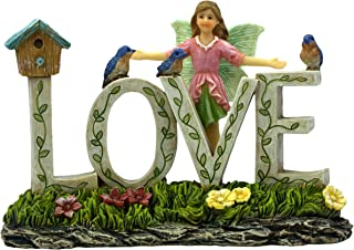 PRETMANNS Fairy Garden Supplies – Fairy Garden Fairy with Blue Birds and Birdcage – 1 Piece