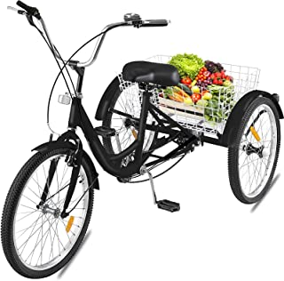 Happybuy 24 Inch Adult Tricycle Series 6 7 Speed 3 Wheel Bike Adult Tricycle Trike Cruise Bike Large Size Basket fo Exercise Men's Women's Bike (Black 7 Speed)