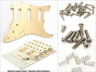 Plastic/Hardware Kit for Strat - Fender Gold Anodized Pickguard & Fender Aged White Accessory Kit, Modern 11-Hole Mount, with Stainless Steel Hardware