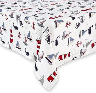 Cackleberry Home Nautical Ocean Cotton Fabric Tablecloth, 52 x 70 Rectangular