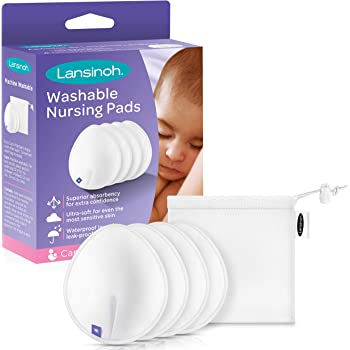 Lansinoh Reusable Nursing Pads for Breastfeeding Mothers, 4 Pads